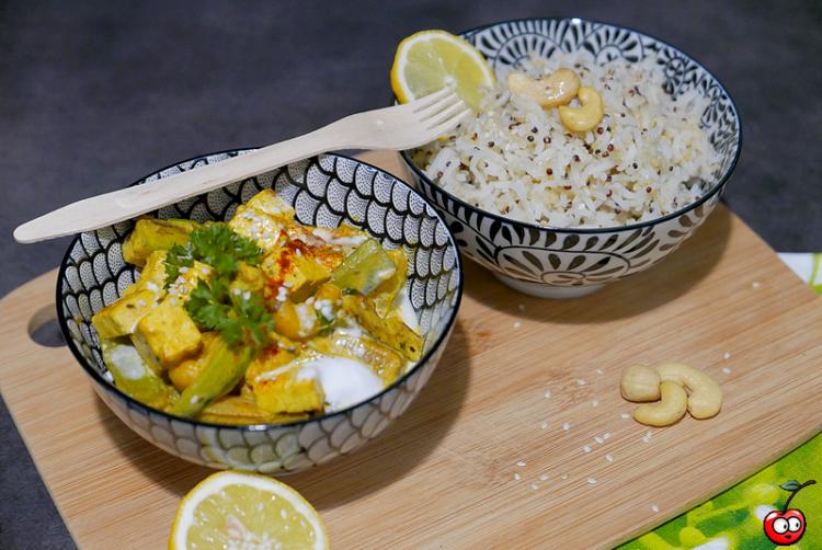 Recette du curry de tofu à la coco et noix de cajou par caporal cerise (caporalcerise.Fr)