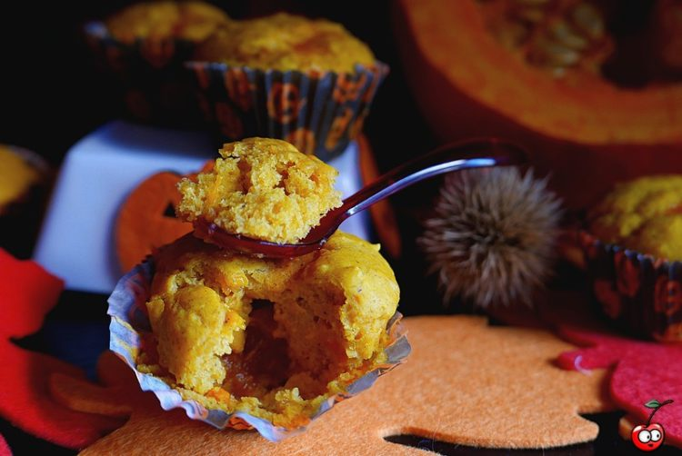Recette des Pumpkin muffin coeur confiture par caporal cerise (caporalcerise.Fr)