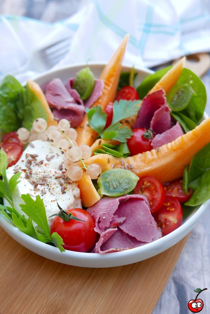 Recette de l'assiette de melon pastrami et mozzarella par caporal cerise (caporalcerise.Fr)