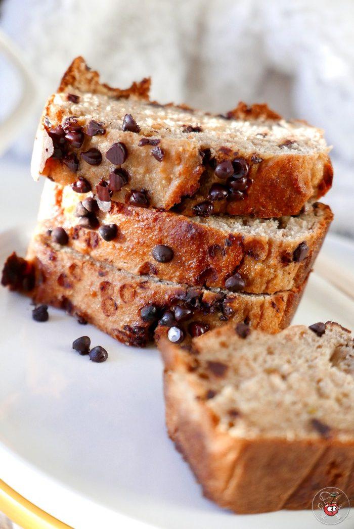 Recette du banana bread vegan aux péptes de chocolat par caporalcerise (caporalcerise.fr)